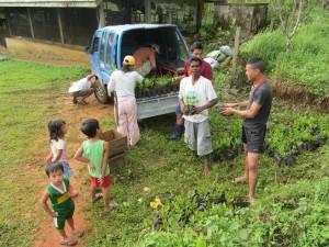 Vater Rogello erhält Baumsetzlinge zur Aufforstung, im Gegenzug fördert Maninoy die Schulausbildung seiner Tochter Jessa
